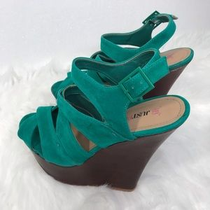 Just Fab Suede Strappy Wedge Heels 9